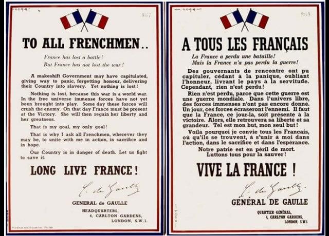 78e anniversaire de l'Appel historique du Général de Gaulle