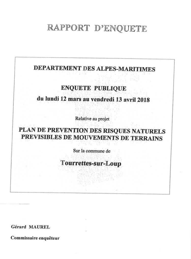 PPR Mouvements de terrain - Rapport du commissaire enquêteur