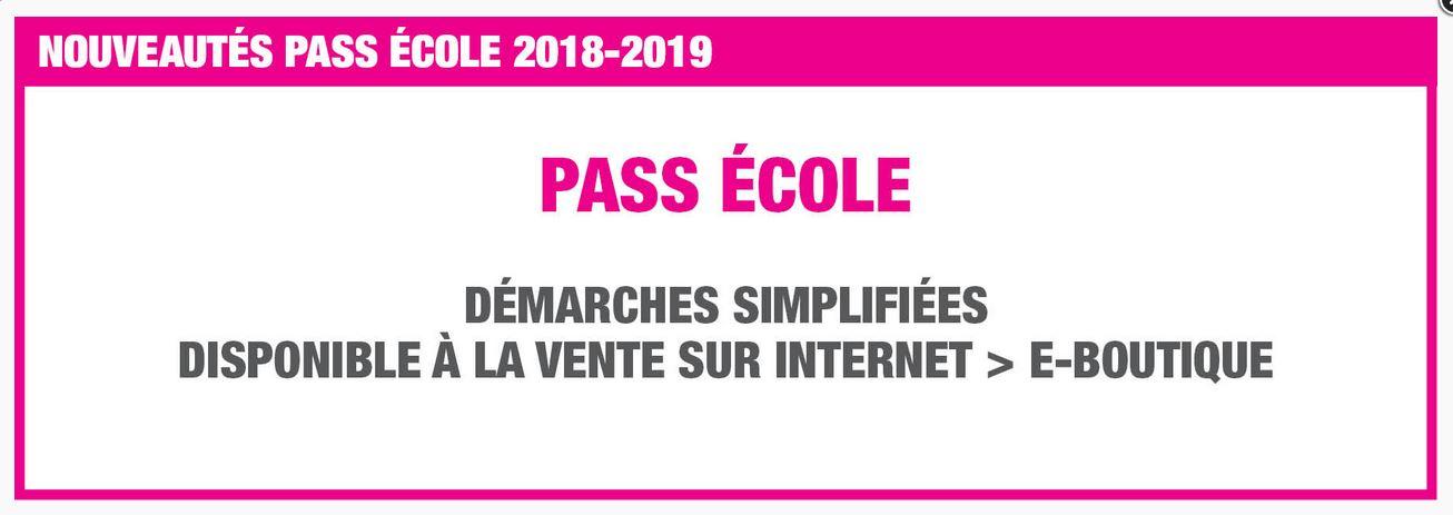 Nouveautés : Pass école 2018-2019