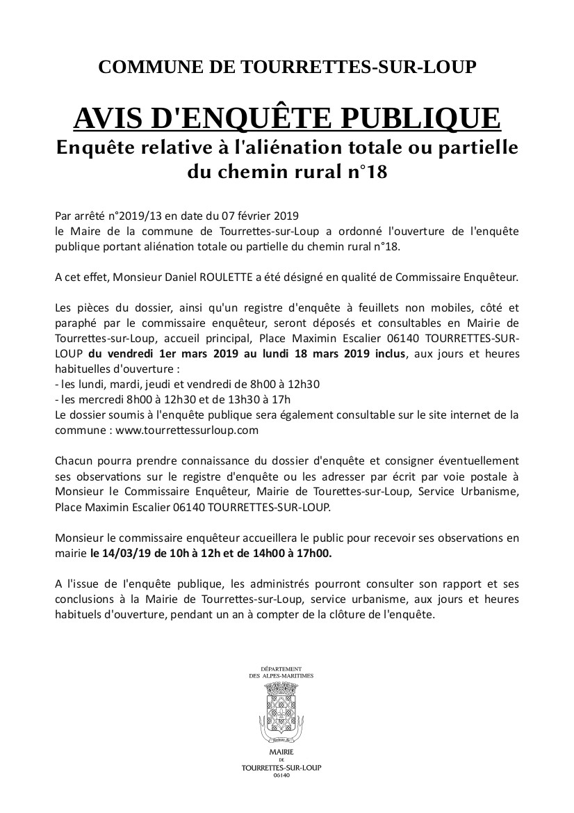 2019 Avis D'enquête Chemin Rural N°18