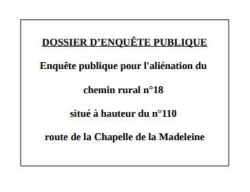Dossier Enquête publique chemin rural n°18