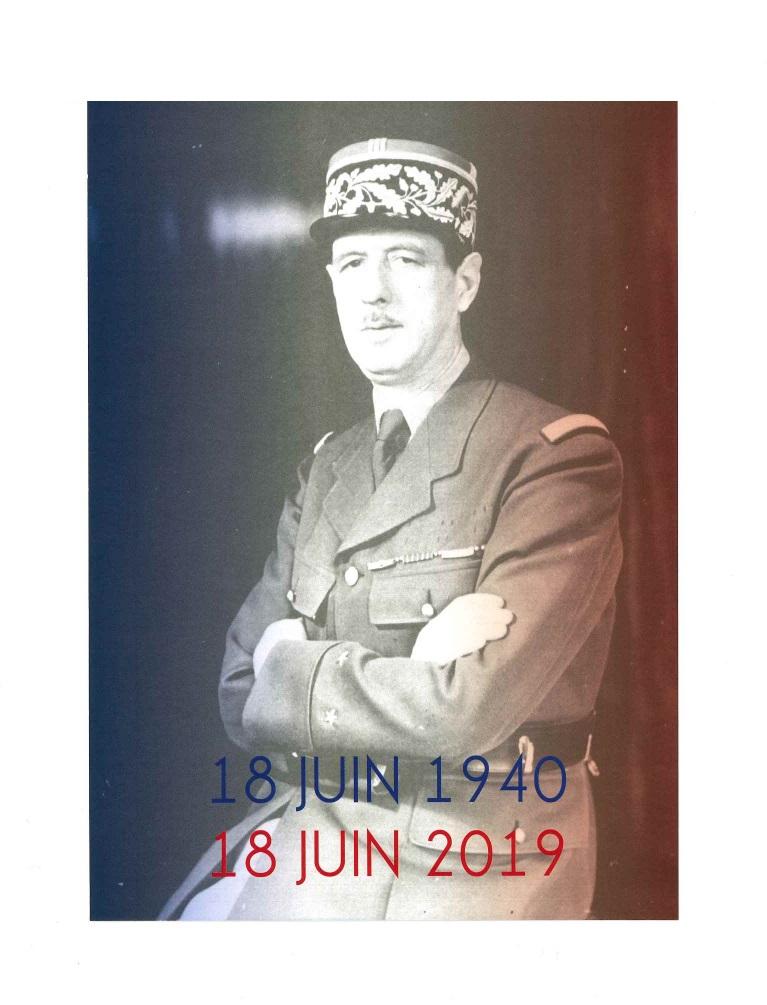 Mardi 18 juin 2019 : 79e anniversaire de l'Appel du Général de Gaulle