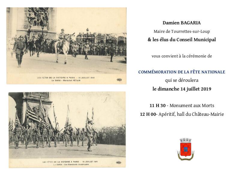 Invitation : Cérémonie de la Fête Nationale 14 juillet
