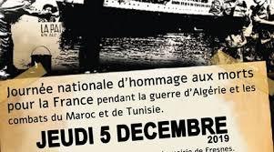 Hommage aux morts pour la France pendant la guerre d'Algérie et des combats du Maroc et de la Tunisie