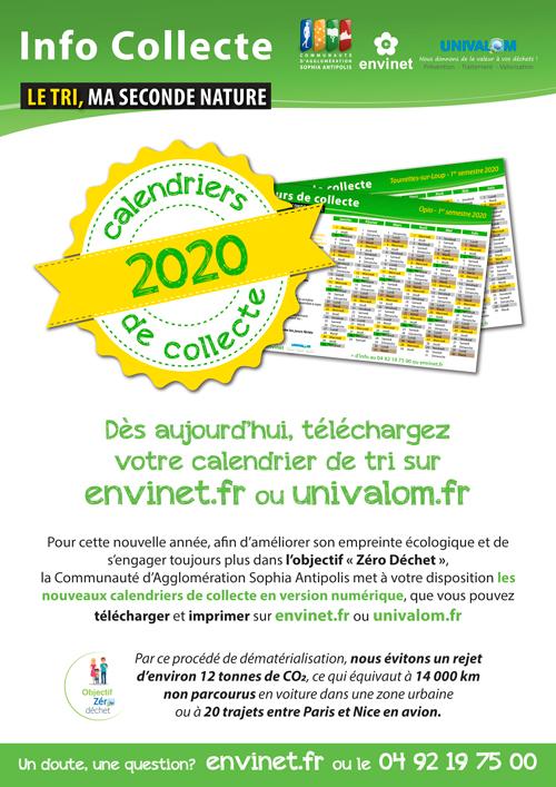 Calendriers de collecte 2020 disponibles