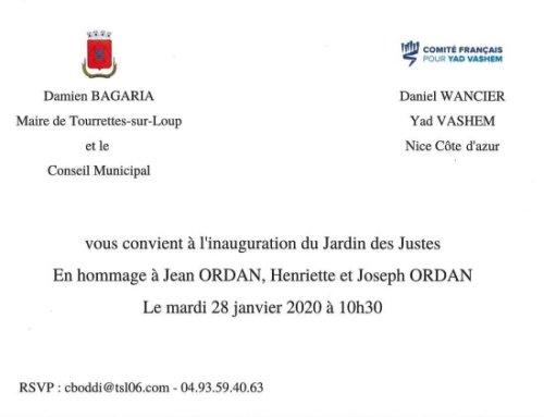 Invitation – Inauguration du Jardin des Justes – mardi 28 janvier