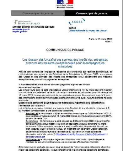 Urssaf et Impôts - Mesures d'accompagnement des entreprises impactées par le coronavirus (Covid-19)