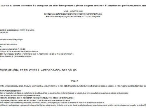 [ Infos #Covid-19 ] URBANISME -Modification des délais d'instruction