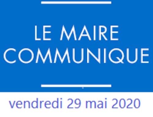 [#Déconfinement] LE MOT DU MAIRE – 29 mai 2020