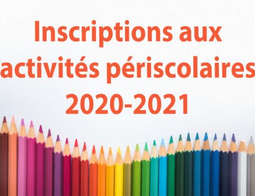 Inscriptions aux services périscolaires 2020-2021 et transport scolaire
